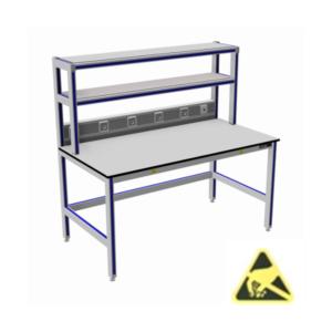 tafels-met-2x-opbouw_esd_aluminium_werktafels_ESD-veilig