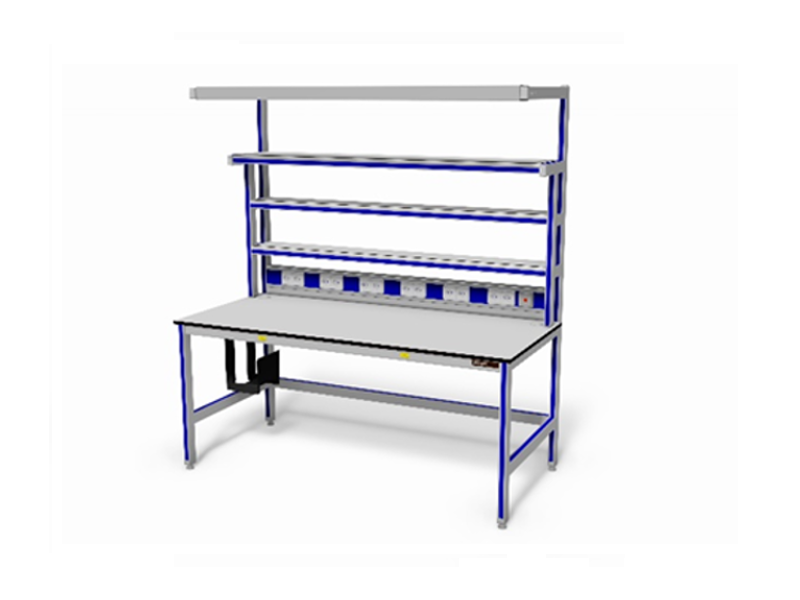 ESD-veilige testtafel (energievoorziening,opstandbladen)