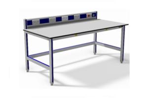 ESD-veilige werktafel met energievoorziening en noodstop