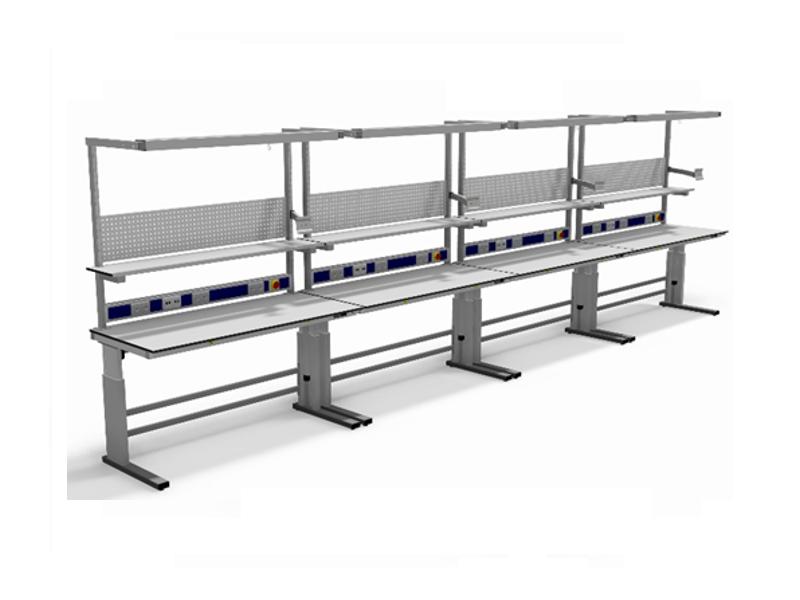 Elektrisch verstelbare ESD-veilige montagewerktafels