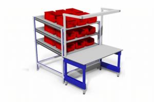 Ferro werltafel met verlichting en rollenbanen tbv montagewerk