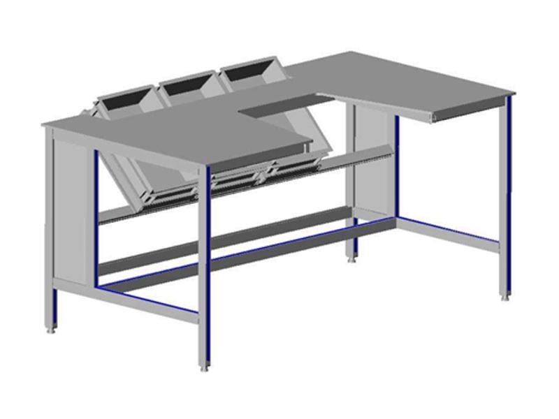 montagetafel met verschuifbare onderdelenbakken