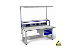 elektrisch verstelbare elektronica werktafel met o.a. ladeblok