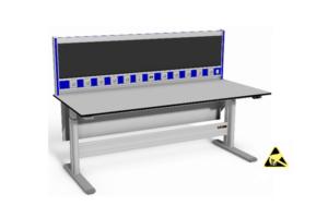 elektrisch verstelbare tafel met o.a. geluidsdempende wand