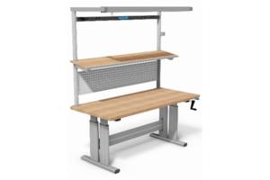 handmatig verstelbare werktafel met beuken werkblad
