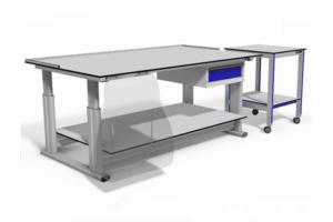 hoogte verstelbare inpaktafel voor webshop met onderblad