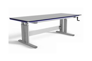 stabiele handmatig verstelbare werktafel met groot werkblad