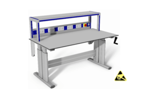 stabiele handmatig verstelbare werktafel met o.a. energiegoot