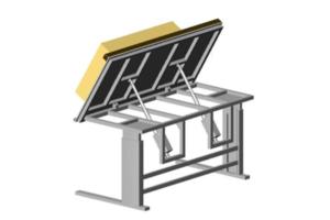 traploos verstelbare kantelbare werktafel met schakelkastenbouw