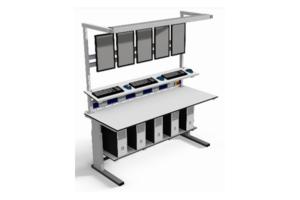 traploos verstelbare operatortafel, onderblad, energievoorziening