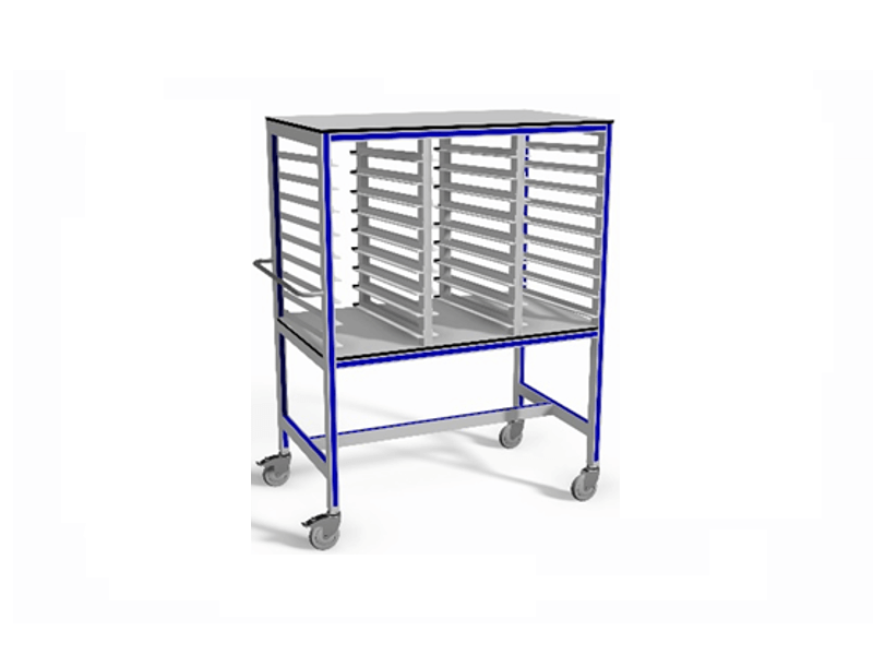 trolley t.b.v. het drogen van glasplaten