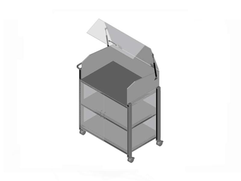 trolley voorzien van transparant kunststof kantelbare kap