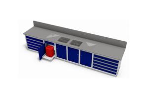 werkbank met RVS werkblad voorzien van lekroosters
