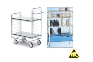 ESD-veilige trolleys en rekken