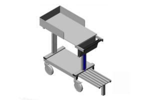 traploos in hoogte verstelbare archieftrolley met anti-slip opstap