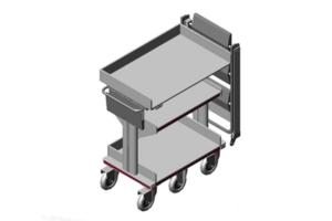 traploos in hoogte verstelbare archieftrolley met kleine draaicirkel
