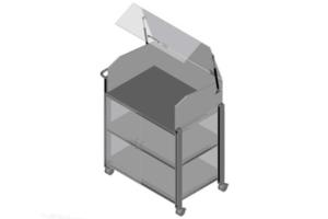 trolley met transparant kunststof kantelbare kap en deuren