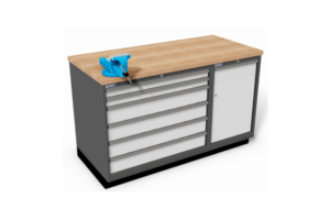 werkbank met bankschroef en schuifladekasten