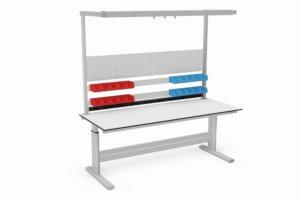 elektrisch verstelbare assemblage tafel met bakjesrail e.d. 2000 mm breed