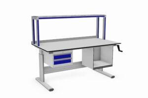 tafel handmatig verstelbaar met opstand, ladeblok en printervak