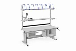 handmatig verstelbare paktafel met o.a. ladeblok en printervak