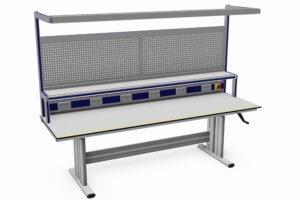 handmatig verstelbare werktafel (ESD) met o.a. gereedschapsborden