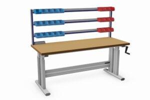 handmatig verstelbare montagetafel met bakjesrails