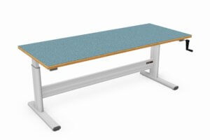 vlakke handmatig verstelbare werktafel met marmoleum werkblad