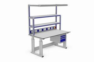 elektrisch verstelbare tafel met dubbele opstand en o.a. energiegoot