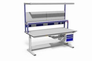 elektrisch verstelbare tafel met ladeblok, gereedschapsbord, energiegoot e.d.