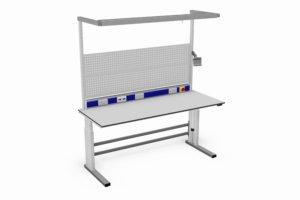elektrisch verstelbare werktafel (375 kg) met o.a. gereedschapsborden