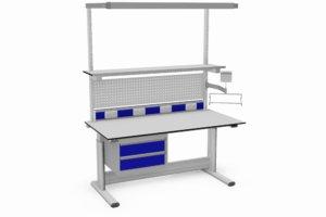 elektrisch verstelbare tafel met o.a. monitor- en toetsenborddrager