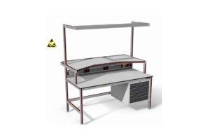 ESD-veilige werktafel met diepe opstand, energiegoot, verlichting en ladeblok