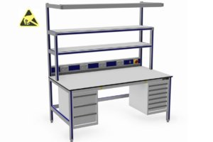 ESD-veilige werktafel met twee opstanden, energiegoot en twee ladekast