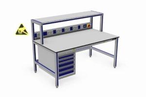 ESD-veilige werktafel met opstand, energiegoot en ladekast
