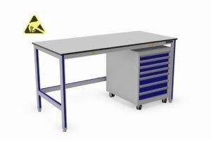 ESD-veilige vlakke werktafel met verrijdbare schuifladekast