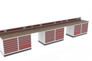werkbank met 40 mm beuken werkblad, energiegoot en schuifladekast