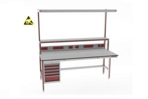 ESD-veilige opstandtafel met ladeblok, energiegoot en LED-verlichting