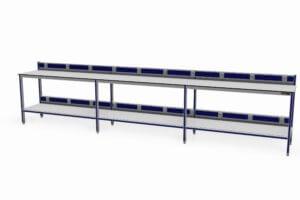 testtafel met onderblad en op twee niveau's energiegoten