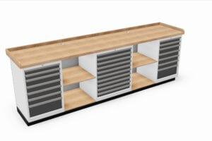 werkbank met 3-zijdig opstaande rand, schuifladekasten en open vakken