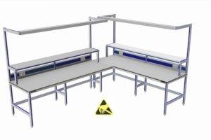 ESD-veilige hoekopstelling met een vrije hoek (teruggesprongen staanders)