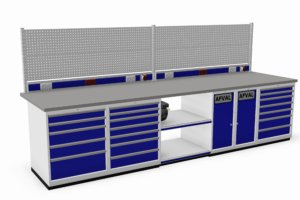 werkbank met schuifladekasten, afvalkasten, energiegoot en gereedschapsborden